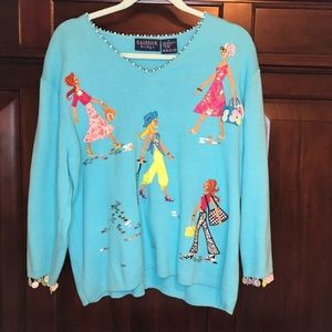 Colourful women's sweater with shopping ladies design, extra large